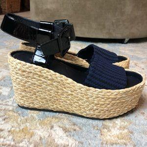 Celine Paris Phoebe Philo Raffia Platform Sandals